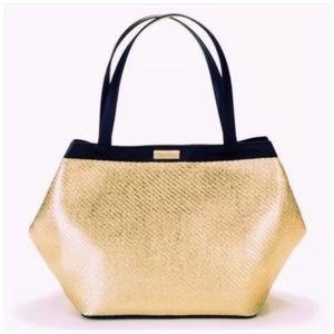 Versace Parfums Gold Woven Black Leather Tote Bag